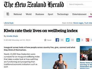 Kiwis rate their lives on wellbeing index