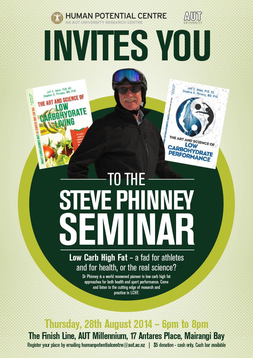 Dr Steve Phinney seminar Auckland August 28th – Seminar Flyer